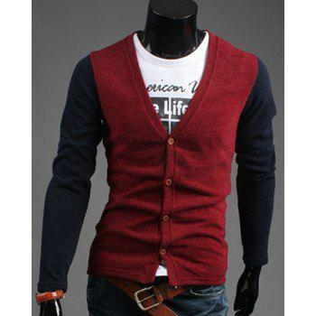Western Style V-Neck Color Splicing Button Design Fitted Men's Long Sleeves Cardigan