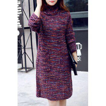 Graceful Long Sleeve Turtleneck Loose-Fitting Pocket Design Women's Sweater Dress