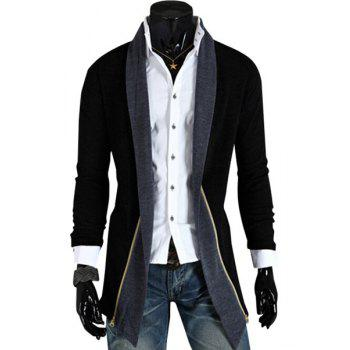 Personality Spliced Color Block Zipper Design Turn-down Collar Long Sleeves Men's Cardigan