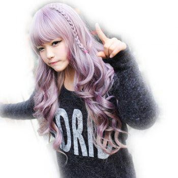 Fashion Towheaded Harajuku Servant Girl Daily Long Wavy DIY Style Neat Bang Braided Heat Resistant Fiber Cosplay Wig