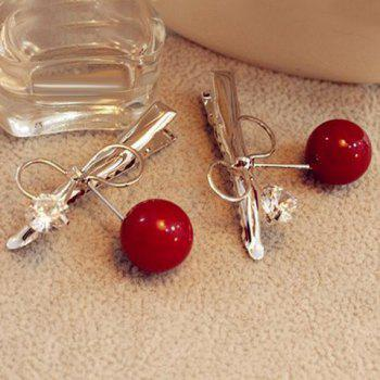Sweet Faux Pearl Rhinestone Bowknot Hairpin For Women - RED