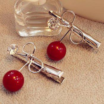 Sweet Faux Pearl Rhinestone Bowknot Hairpin For Women - RED RED