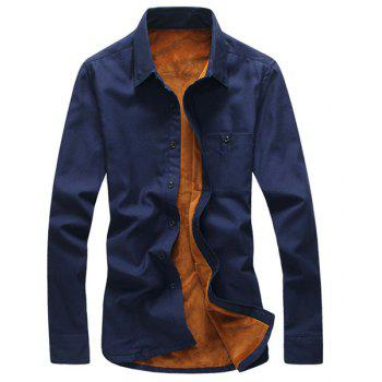 Simple Shirt Collar One Patch Pocket Solid Color Long Sleeves Men's Thicken Button-Down Shirt