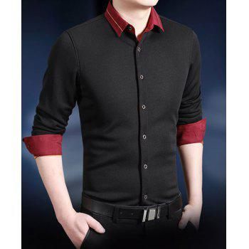 Classic Color Block Embroidered Embellished Shirt Collar Long Sleeves Men's Thicken Shirt