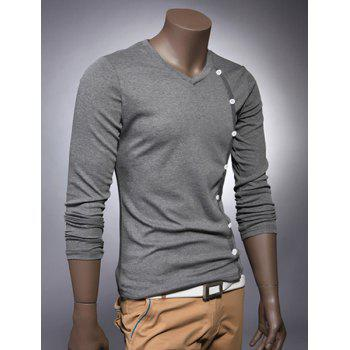 V Neck Button Embellished Slimming Long Sleeve Men's T-Shirt - DEEP GRAY 2XL
