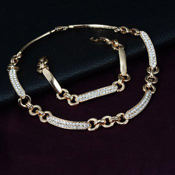 A Suit of Chic Rhinestoned Necklace Earrings Bracelet and Ring For Women - GOLDEN ONE-SIZE