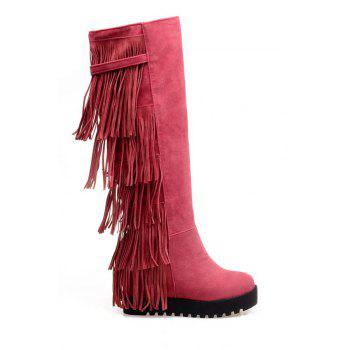 Trendy Fringe and Platform Design Women's Mid-Calf Boots