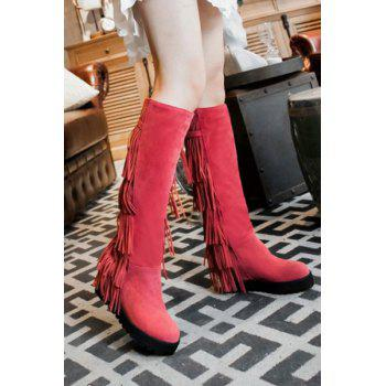 Trendy Fringe and Platform Design Women's Mid-Calf Boots - PEACH RED 38