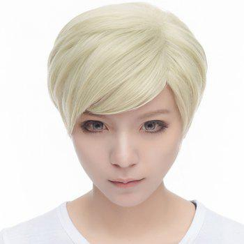 Anime Erwin Smith Short Stunning Light Blonde Ombre Brown Nobby Straight Side Bang Cosplay Wig