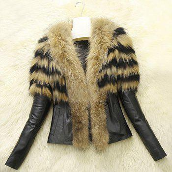 Chic Colormix V-Neck Faux Fur Spliced Long Sleeve Coat For Women