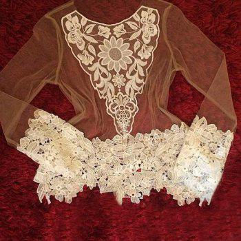 Chic See-Through Crochet Lace Spliced Long Sleeve Blouse For Women - WHITE WHITE