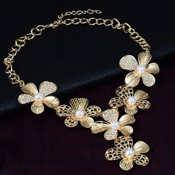 A Suit of Charming Faux Pearl Floral Necklace Ring Bracelet and Earrings For Women - GOLDEN ONE-SIZE