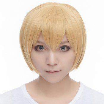 Bob Style Fashion Straight Light Blonde Synthetic Sweet Short Armin Arlart Cosplay Wig