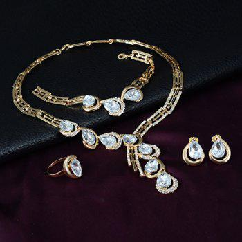 A Suit of Faux Crystal Water Drop Necklace Ring Bracelet and Earrings - GOLDEN ONE-SIZE