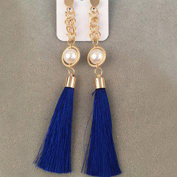 Pair of Faux Pearl Tassel Drop Earrings