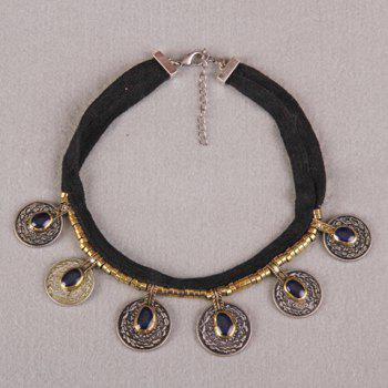 Faux Crystal Coin Necklace - GOLDEN