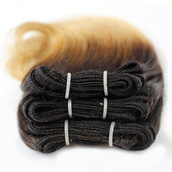 Stunning Black Ombre Blonde Fashion Short Capless Fluffy Wavy Women's Human Hair Extension -  OMBRE