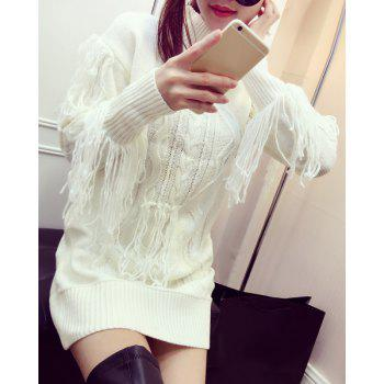Chic Stand Collar Long Sleeve Fringed Pure Color Women's Dress