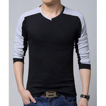 Color Block Splicing V-Neck Long Sleeve Slimming Stylish Men's T-Shirt