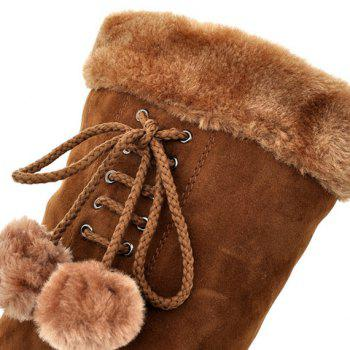 Stylish Solid Color and Pompon Design Mid-Calf Boots For Women - BROWN 39