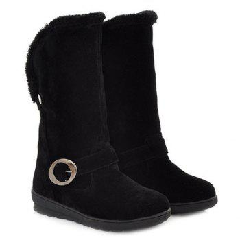 Concise Buckle and Fold Over Design Mid-Calf Boots For Women