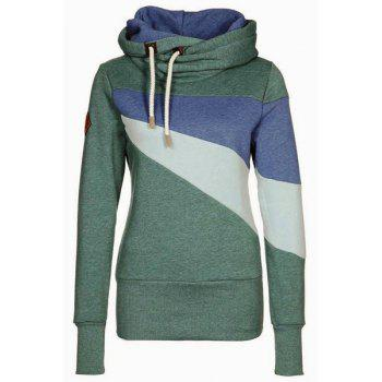 Chic Long Sleeve Hooded Hit Color Women's Hoodie - GREEN GREEN
