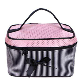 Fashion Stripes and Bow Design Women's Cosmetic Bag - PINK PINK