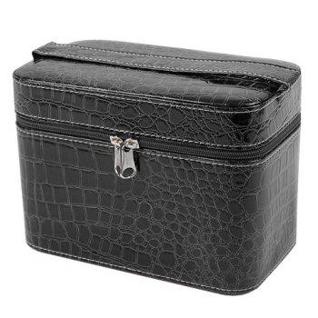 Fashion PU Leather and Solid Color Design Women's Cosmetic Bag - BLACK BLACK