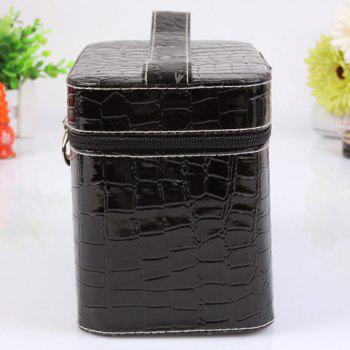 Fashion PU Leather and Solid Color Design Women's Cosmetic Bag -  BLACK