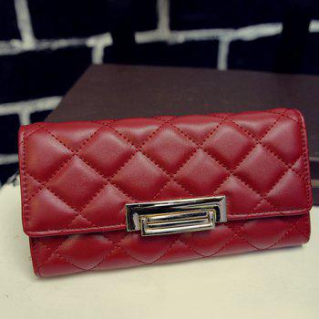 Fashion Embossing and Checked Design Wallet For Women - WINE RED