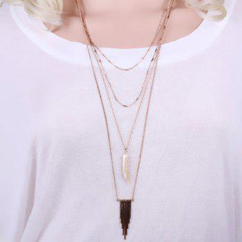 Chic Layered Faux Ox Horn Triangle Sweater Chain For Women - GOLDEN GOLDEN