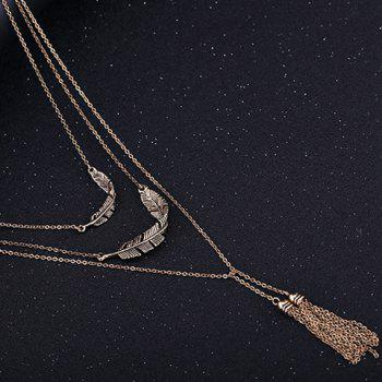 Metal Tassel Feather Layered Sweater Chain - GOLDEN