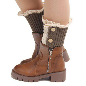 Pair of Chic Buttons and Lace Embellished Women's Knitted Boot Cuffs