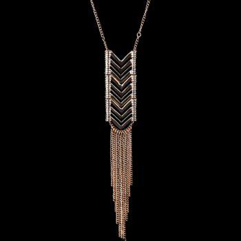 Hollow Out Arrow Metal Tassel Sweater Chain - GOLDEN