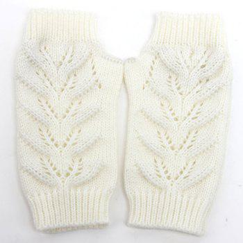Pair of Chic Hollow Out Crochet Women's Knitted Fingerless Gloves - WHITE