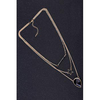 Trendy Faux Crystal Hollow Out Star Sweater Chain For Women -  BLACK