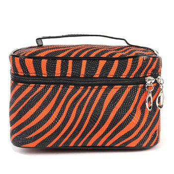 Stylish Stripe and Zip Design Women's Cosmetic Bag