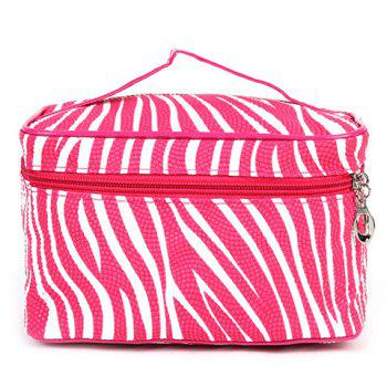 Stylish Stripe and Zip Design Women's Cosmetic Bag - ROSE ROSE