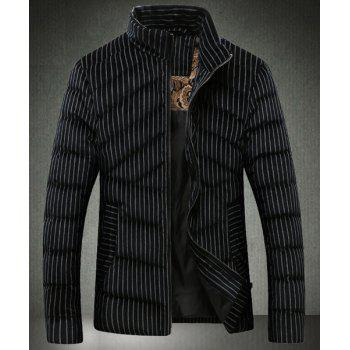 Stand Collar Vertical Stripe Slimming Long Sleeve Men's Cotton-Padded Jacket