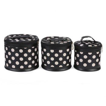 Trendy Zipper and Dots Design Women's Cosmetic Bag - WHITE AND BLACK WHITE/BLACK