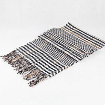 Stylish Houndstooth and Plaid Pattern Tassel Warmth Scarf For Men