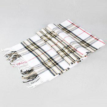 Stylish Simple Plaid Pattern Tassel Men's Scarf - WHITE WHITE