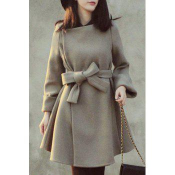 Endearing Solid Color Jewel Neck High Waist Belted Dress Wool Coat For Women
