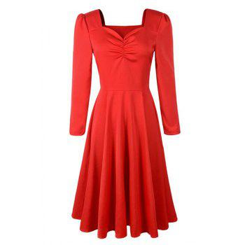 Vintage Style Long Sleeve Sweetheart Neck Ruched Solid Color Women's Dress