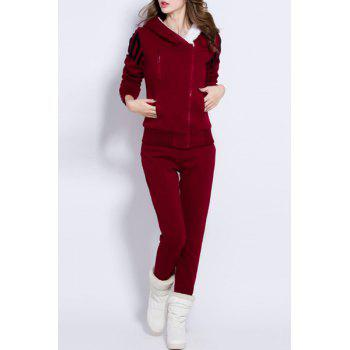 Stylish Women's Hooded Long Sleeve Letter Pattern Hoodie and Pants Suit