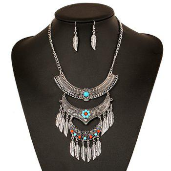 A Suit of Ethnic Metal Leaf Tassel Necklace and Earrings