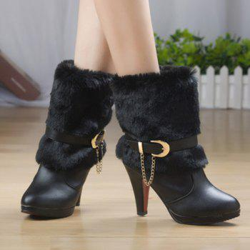 Stylish Pure Colour and Chain Design Women's Short Boots - BLACK 36