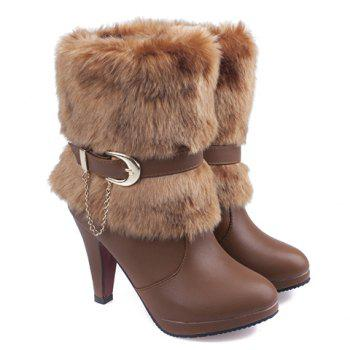 Fashionable Pure Colour and Chain Design Short Boots For Women