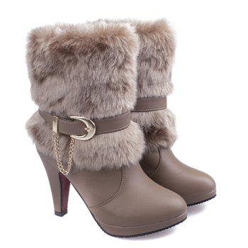 Stylish Pure Colour and Chain Design Women's Short Boots