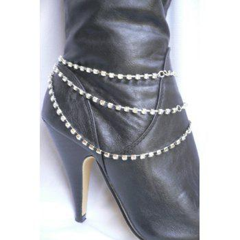 Multilayer Rhinestone Claw Chain Boot Anklet - SILVER SILVER